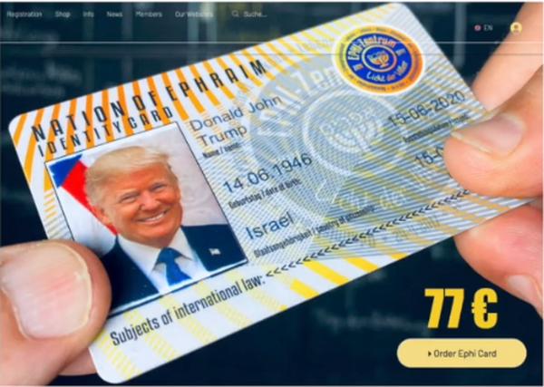 Ehrenbürger Donald John Trump - Nation Ephraim - EPHI-Card