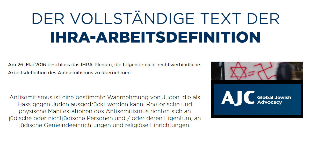 Definition Antisemitismus AJC - (deutsche Übersetzung)
