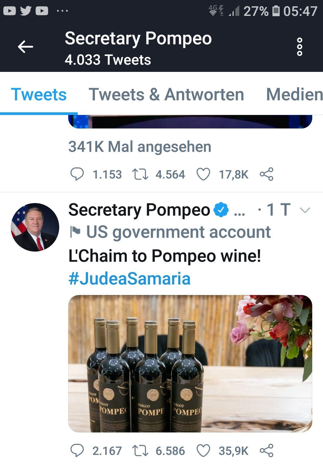 Tweet von US-Außenminister Mike Pompeo (14.1.21) #JudeaSamaria