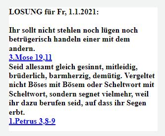 LOSUNG FÜR DEN JAHRESANFANG AM 01.01.2021